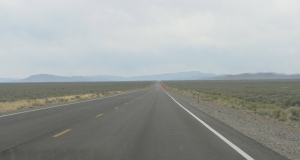 One of Nevada's many endless roads. It took almost an hour to get to the mountains on the horizon.