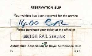 Ticket for the car ferry.