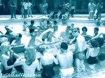 Gamblers exercising at a Vegas pool